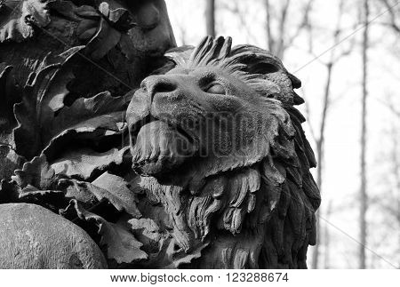 Fragment of monument to Ivan Krylov in the Summer Garden in St Petersburg Russia. Black and white.
