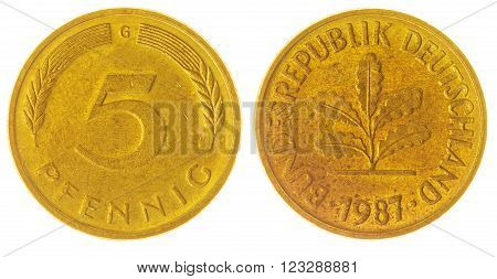 5 Pfennig 1987 Coin Isolated On White Background, West Germany