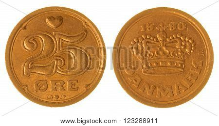 25 Ore 1990 Coin Isolated On White Background, Denmark
