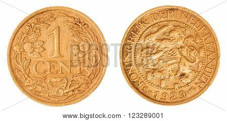 1 Cent 1929 Coin Isolated On White Background, Netherlands