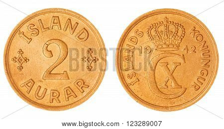 2 Aurar 1942 Coin Isolated On White Background, Iceland