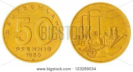 50 Pfennig 1950 Coin Isolated On White Background, East Germany