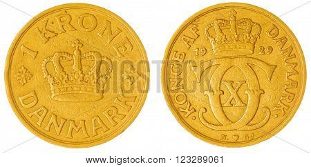 1 Krone 1929 Coin Isolated On White Background, Denmark