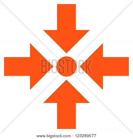 Shrink Arrows vector icon. Style is flat icon symbol, orange color, white background.
