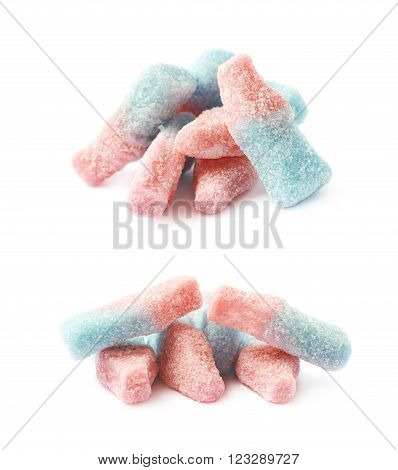 Bottle shaped fizzy cola drink candy isolated over the white background, set of two different foreshortenings