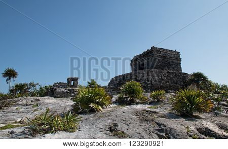 Temple of the Wind at Tulum Mayan ruins on Mexico's Yucatan Peninsula