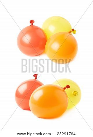 Pile of water filled air balloons isolated over the white background, set collection of two different foreshortenings