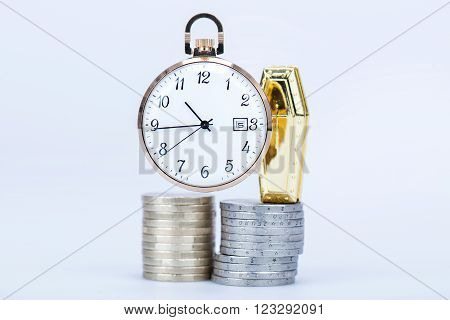Pocket Watch With European Currencies And Tomb
