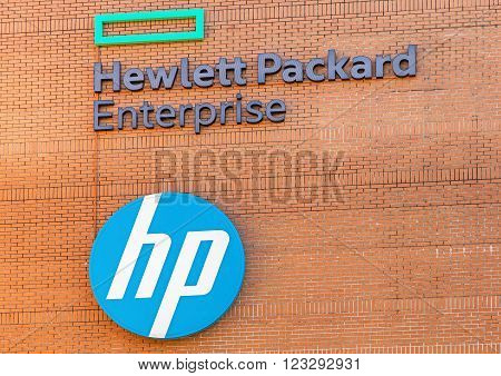 Dubendorf , Switzerland - 26 March, 2016: sign on the wall of the HP Switzerland GmbH office building. Hewlett Packard Enterprise (HPE) is a multinational information technology company founded 1 November 2015 as part of the split Hewlett-Packard company.