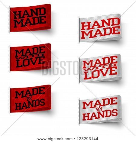 Set of realistic textile red and white labels with tissue structure hand made and made with love and made by hand with shadow on white background vector