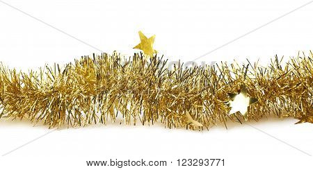 Line of a golden tinsel decorational Christmas garland isolated over the white background