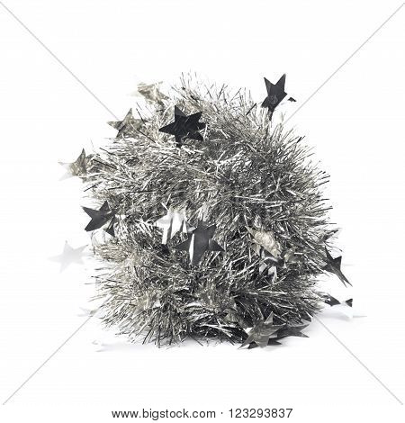 Silver tinsel garland pile isolated over the white background