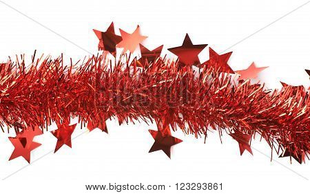Line of a red tinsel decorational Christmas garland isolated over the white background