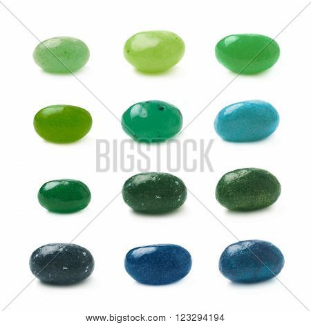 Single green jelly bean candy isolated over the white background, set of twelve different foreshortenings