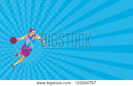 Business card showing Low polygon style illustration of a basketball player dribbling ball looking to the side viewed from front on isolated white background.