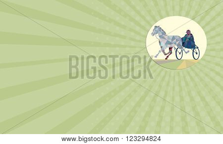 Business card showing Low polygon style illustration of a horse and jockey harness racing viewed from the front set on isolated white background.