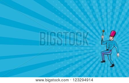 Business card showing illustration of a marching band leader holding baton marching viewed from the side set on isolated white background done in cartoon style.