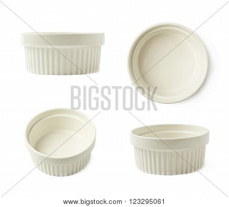 White porcelain souffle ramekin dish isolated over the white background, set of four different foreshortenings