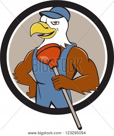 Illustration of an american bald eagle plumber wearing overalls and hat holding plunger with one hand on hips looking to the side set inside circle done in cartoon style.