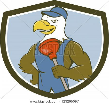 Illustration of an american bald eagle plumber wearing overalls and hat holding plunger with one hand on hips looking to the side set inside shield crest done in cartoon style.