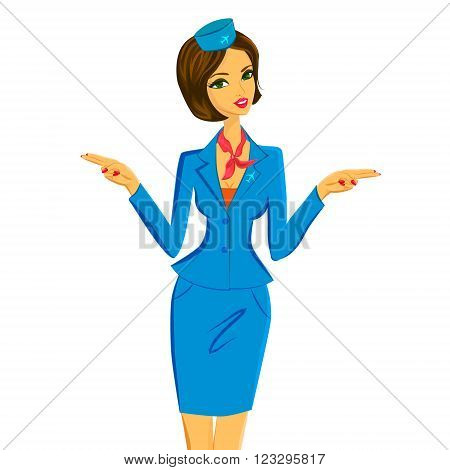 Cute cheerful female flight attendant in blue and red uniform gesturing emergency exits on the plane. Vector character illustration isolated on white background