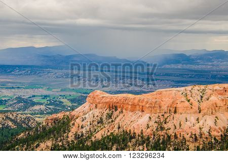 Hoodoos during cloudy, moody weather at Bryce Canyon National Park in Utah