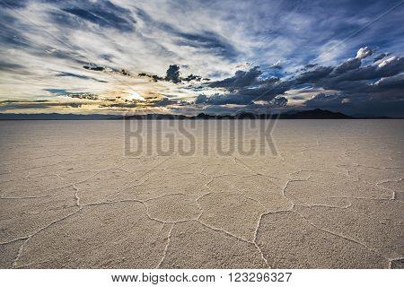 White Salt Flats with dramatic sunset near Salt Lake City, Utah