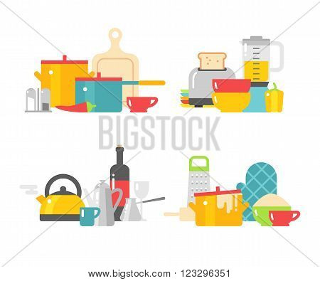 Modern kitchenware icons and flat kitchenware equipment. Home kitchenware devices in color vector flat illustration.