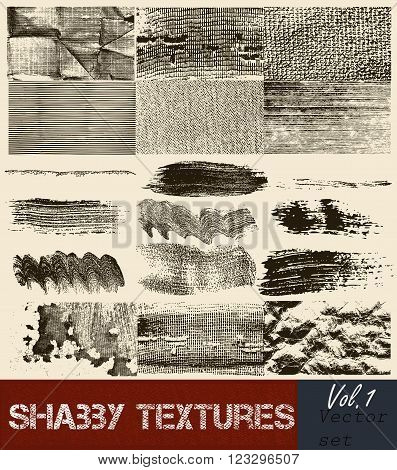 Big set or vector collection of high detailed vector textures from subtle halftones to heavily distressed fabric paper or wall