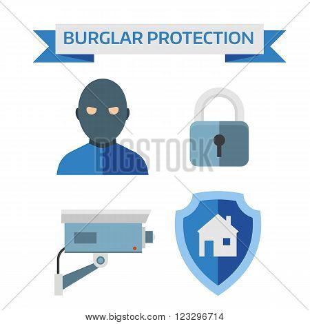 Home security system and safety home security control vector. Illustration of vector flat design composition with home security icons.