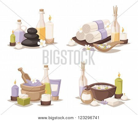 Spa wellness icons and body spa relaxation icons vector. Spa still life icons with water lily and zen stone in serenity pool vector.