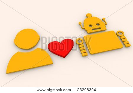 Human and robot relationships. Robotics industry relative image. Heart icon between robot and human. 3D rendering