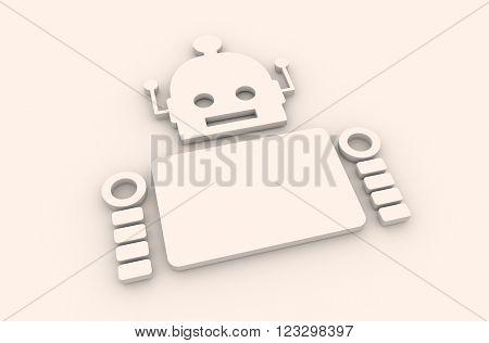Cute vintage robot. Robotics industry relative image. 3D rendering