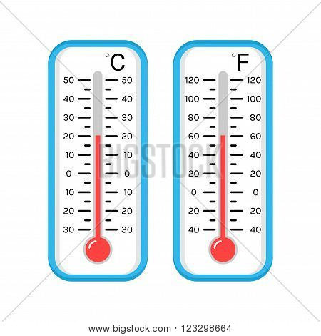 Colored flat icons and illustrations of thermometers for determining the weather. Scale Celsius and Fahrenheit. Isolated on white background. Vector illustration