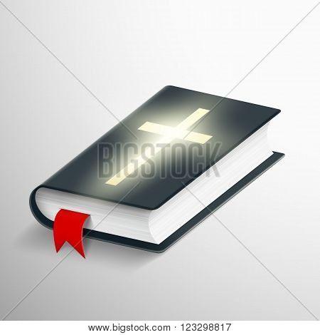 Holy Bible. Symbol of religion. Stock vector realistic illustration.