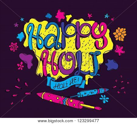 Holi festival illustration. Usable as greeting card, advertisement or print. Happy Holi. Colors party. Hand drawn vector.