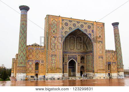 Samarkand Uzbekistan march 2016: The Ulugbek madrassah in Registan square