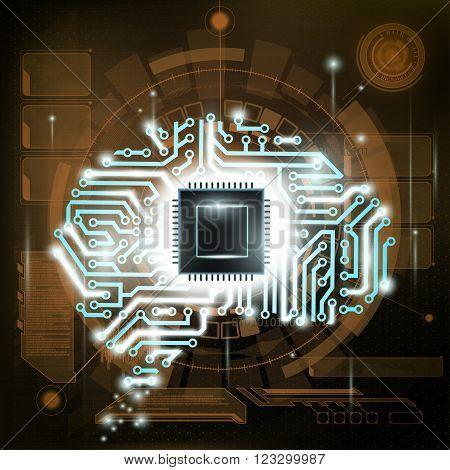 Futuristic background. HUD interface. Human brain is a computer circuit. Stock vector illustration.