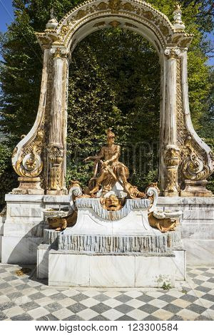 mythology, golden fountains in segovia palace in Spain. bronze figures of mythological gods and classic