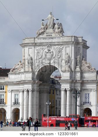 LISBON, PORTUGAL - MARCH 15TH. Triumphal Arch in Lisbon Commercial Square. Lisbon, Portugal, March 15th 2016