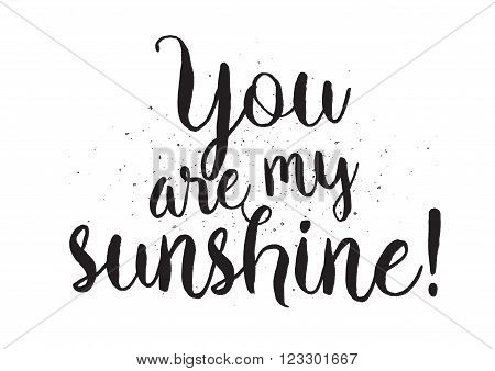 You are my sunshine romantic inscription. Greeting card with calligraphy. Hand drawn lettering design. Photo overlay. Typography for banner, poster or apparel design. Isolated vector element.