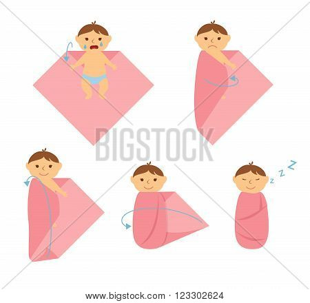 Baby swaddle. How to make a diaper for the baby.Training swaddling a newborn baby. Healthy lifestyle for your child. Make a bundle