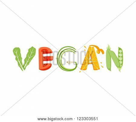 Vegan vegetables lettering. Vegan food vegetables word. Vegeterian food.
