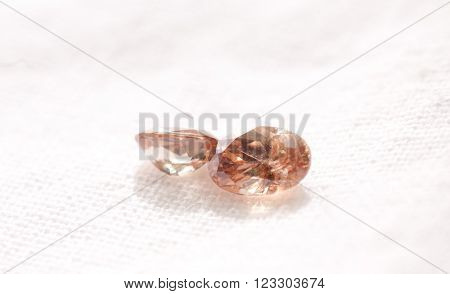 zircon cut jewel crystals on a white background