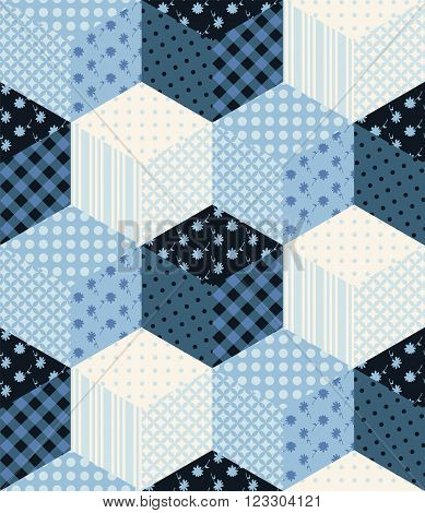 Winter seamless patchwork pattern. New Year background with cubes from patches.