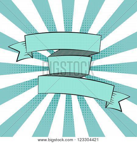 Beautiful Ribbon Label in Pop Art Style Vector Illustration EPS10