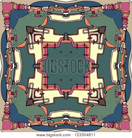 Bandanna print. Abstract background. Vector illustration for ceramic tile textile fabrics prints.