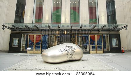 NEW YORK CITY - MARCH 10, 2016: Christie's main headquarters at Rockefeller Plaza in New York. Christie's is the world's largest art business and a fine arts auction house