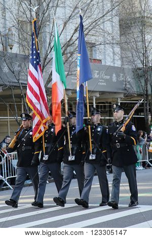 NEW YORK - MARCH 17, 2016: The Color Guard of the Paramus Police marching at the St. Patrick's Day Parade in New York.