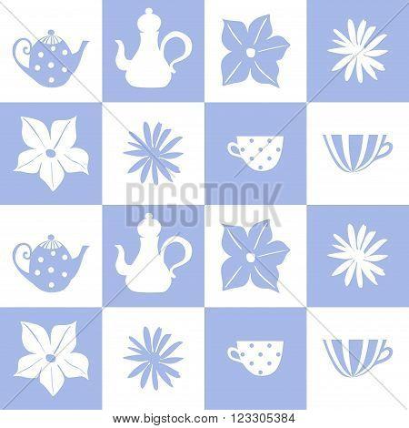 Teatime. Blue and white tiling background. Seamless vector illustration.
